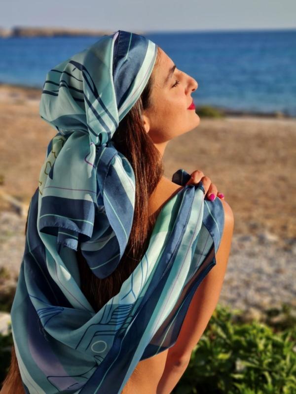 Windmill canvas scarf (blue)